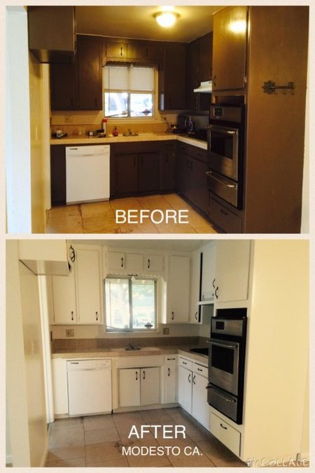 Before and After Cabinet Refinishing by New Look Painting in Modesto, CA